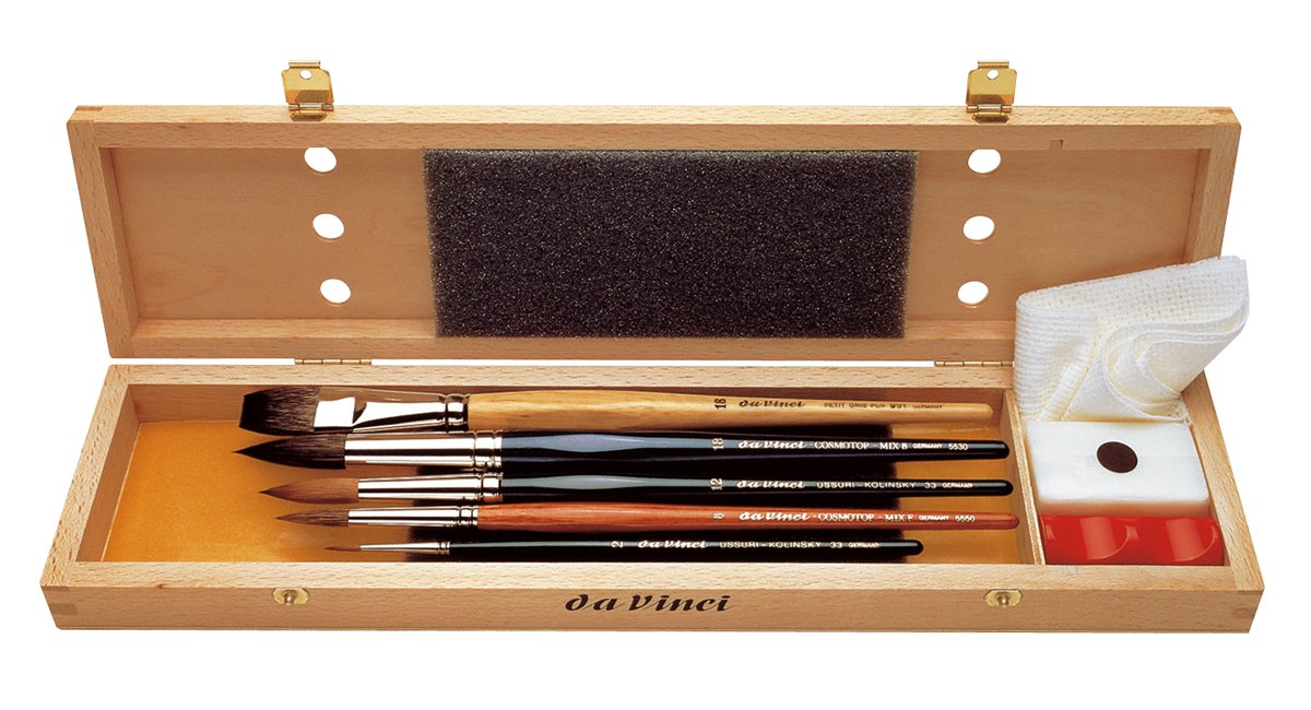 Da Vinci 5240 Series Water Colour Brush Set, Wood, Brown, Black/Red, 30 x 30 x 30 cm