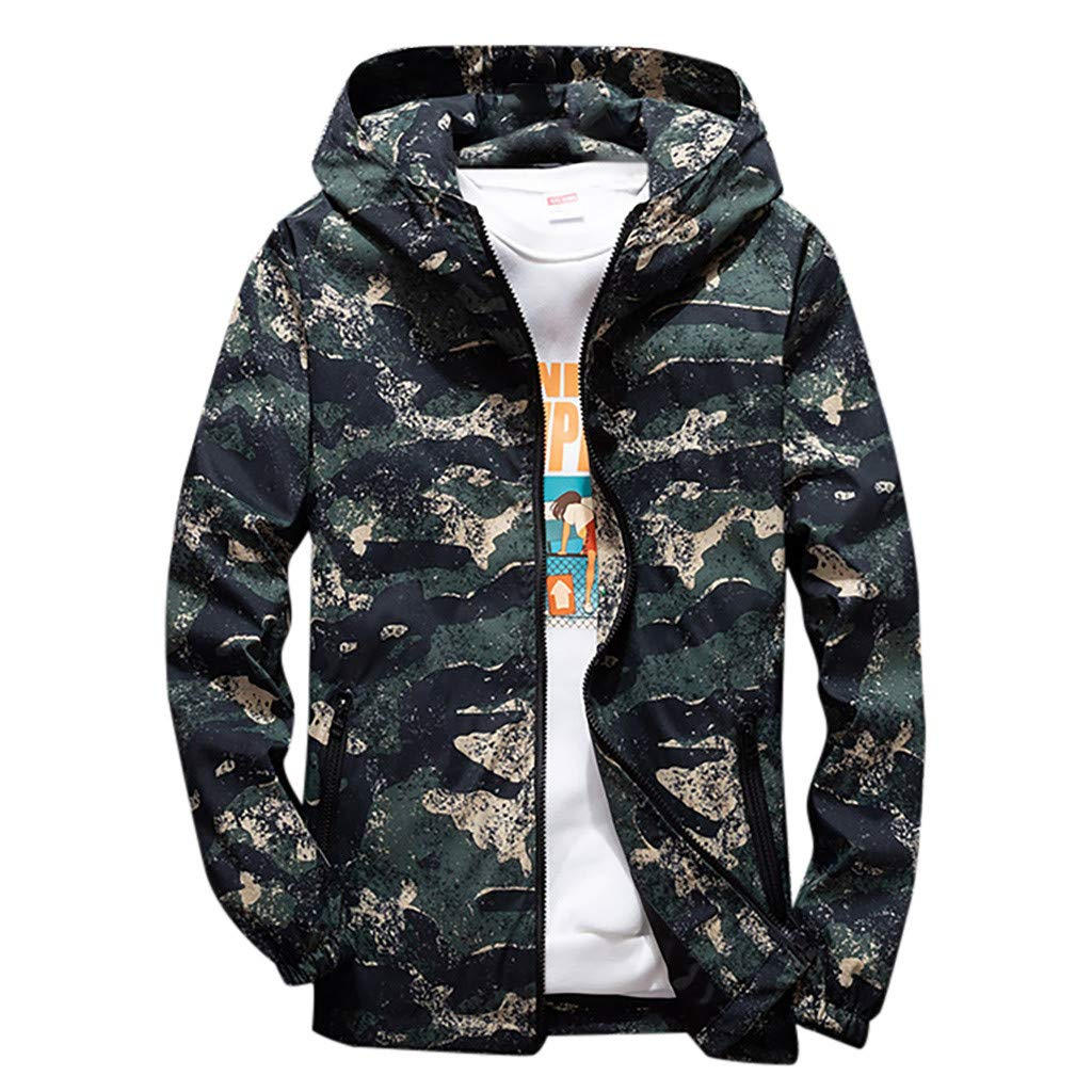 Men's Long Sleeve Hooded Sweatshirt,Clearance!! Males Zipper Drawstring Camouflage Plus Size Pockets Jacket Coat Tops by cobcob men's Coat