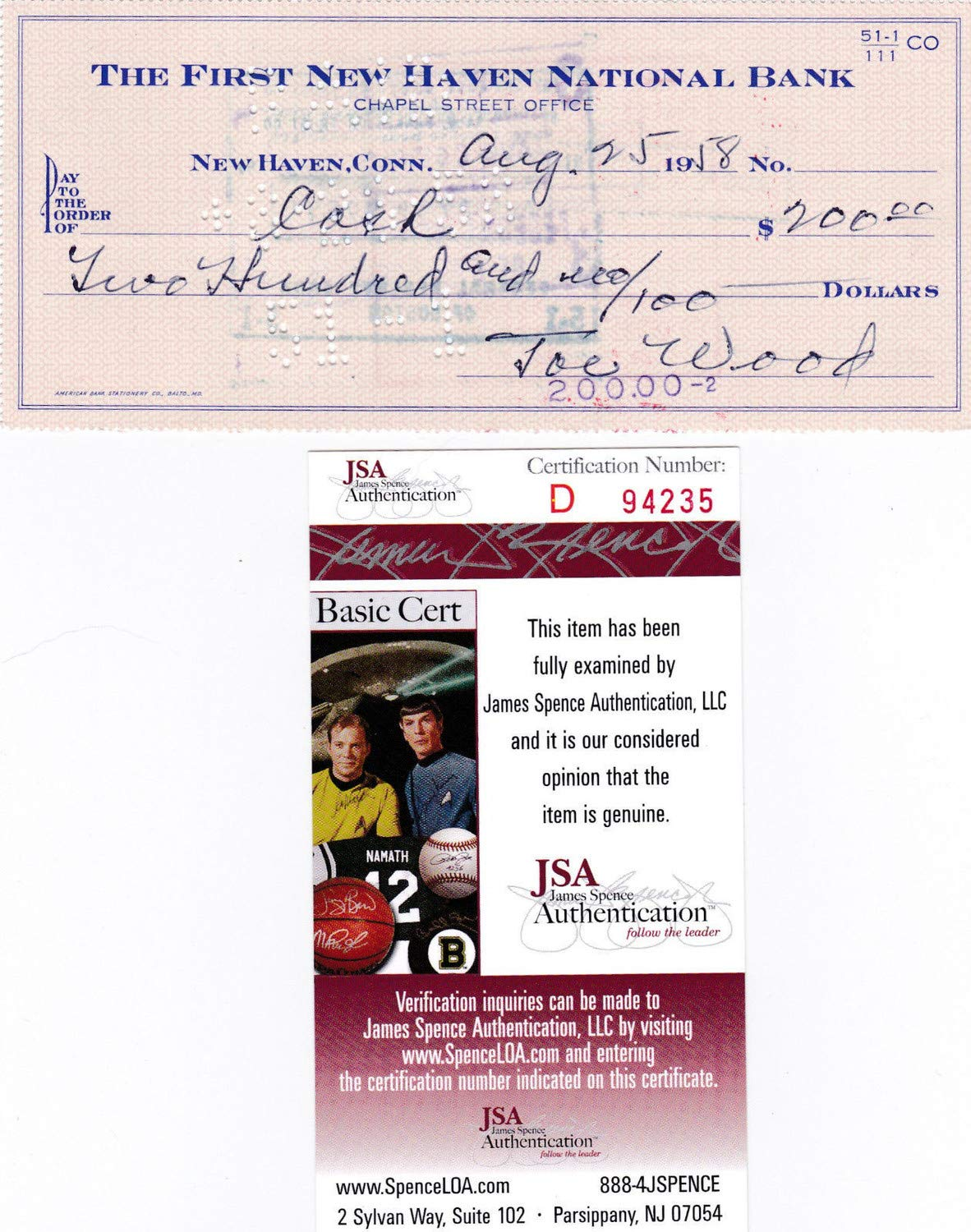 Smoky Joe Wood Autographed Signed Personal Check JSA Authentic