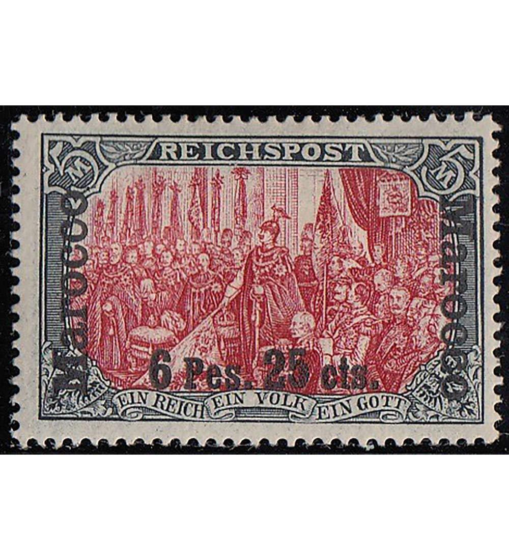 Goldhahn Deutsche Post in Marokko Nr. 19 II ungestempelt mit Fotobefund Jäschke-Lantelme Briefmarken für Sammler