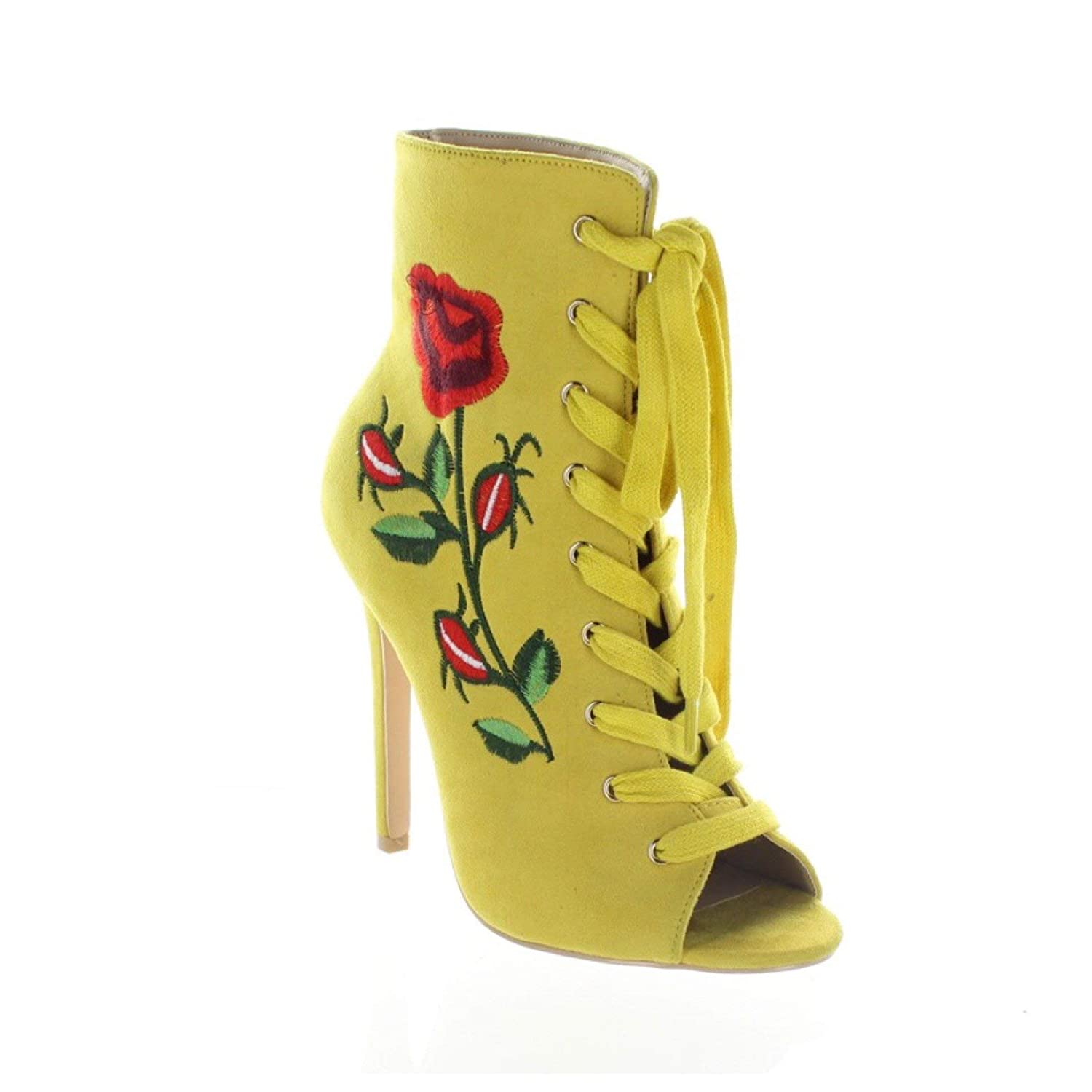 f32c89174 Amazon.com | Mona Mia Embroidered Floral Rose Lace Up Ankle Boot - Mustard  Yellow | Ankle & Bootie