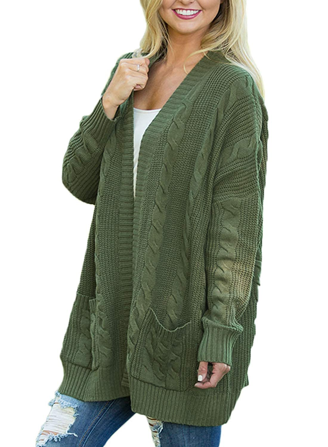 aab1161744c Allumk Womens Cozy Cable Knit Chunky Open Front Cardigan Sweaters Coat with  Pockets at Amazon Women s Clothing store