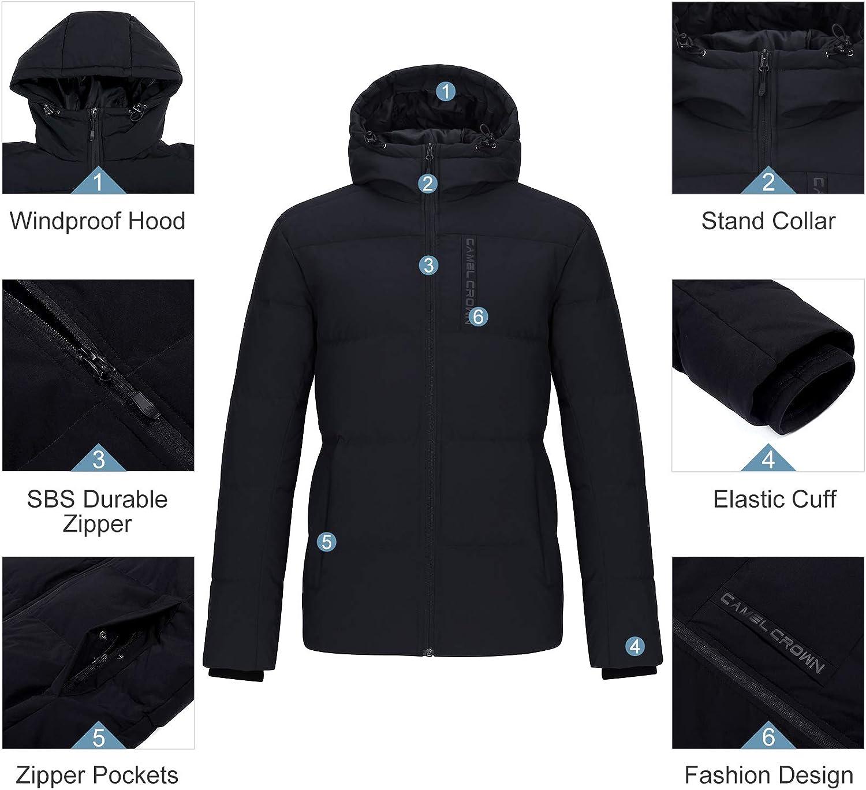 CAMELSPORTS Men/'s Down Jacket Hooded Windproof Puffer Jacket Lightweight Thicken Warm Winter Coat Parka