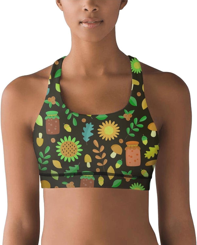 Lkegc Womens Black Sunflowers Mushroom Tropical Flowers Sports Yoga Seamless Yoga Tops Bra