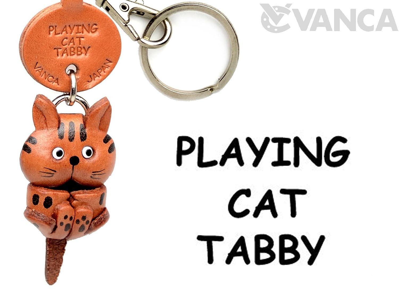 Tabby B008DPXKK6 CatレザーCat Playing Playing CatレザーCat SmallキーチェーンVANCA craft-collectibleキーリングチャームペンダント日本製 B008DPXKK6, 宮古市:89705411 --- awardsame.club