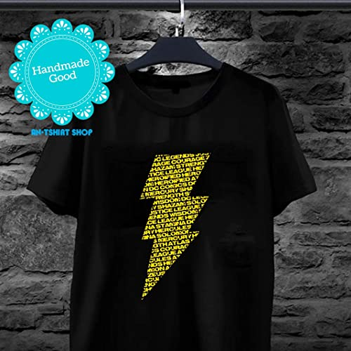 78fde0c73f74ba Shazam Lighting Bolt of Words T-Shirt for men and ... - Amazon.com