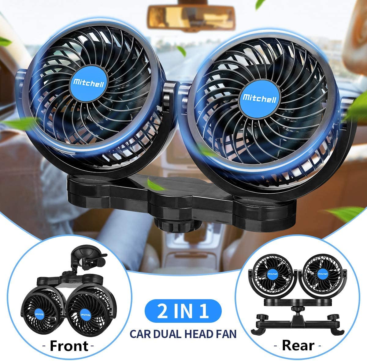 JoyTutus 2 In 1 Dual Head Car Fan with Suction Cup + Rear Seat Bracket, 360° Portable Electric Car Fan for Front Rear Seat, 12V Low Noise Car Cooling Fan Cigarette