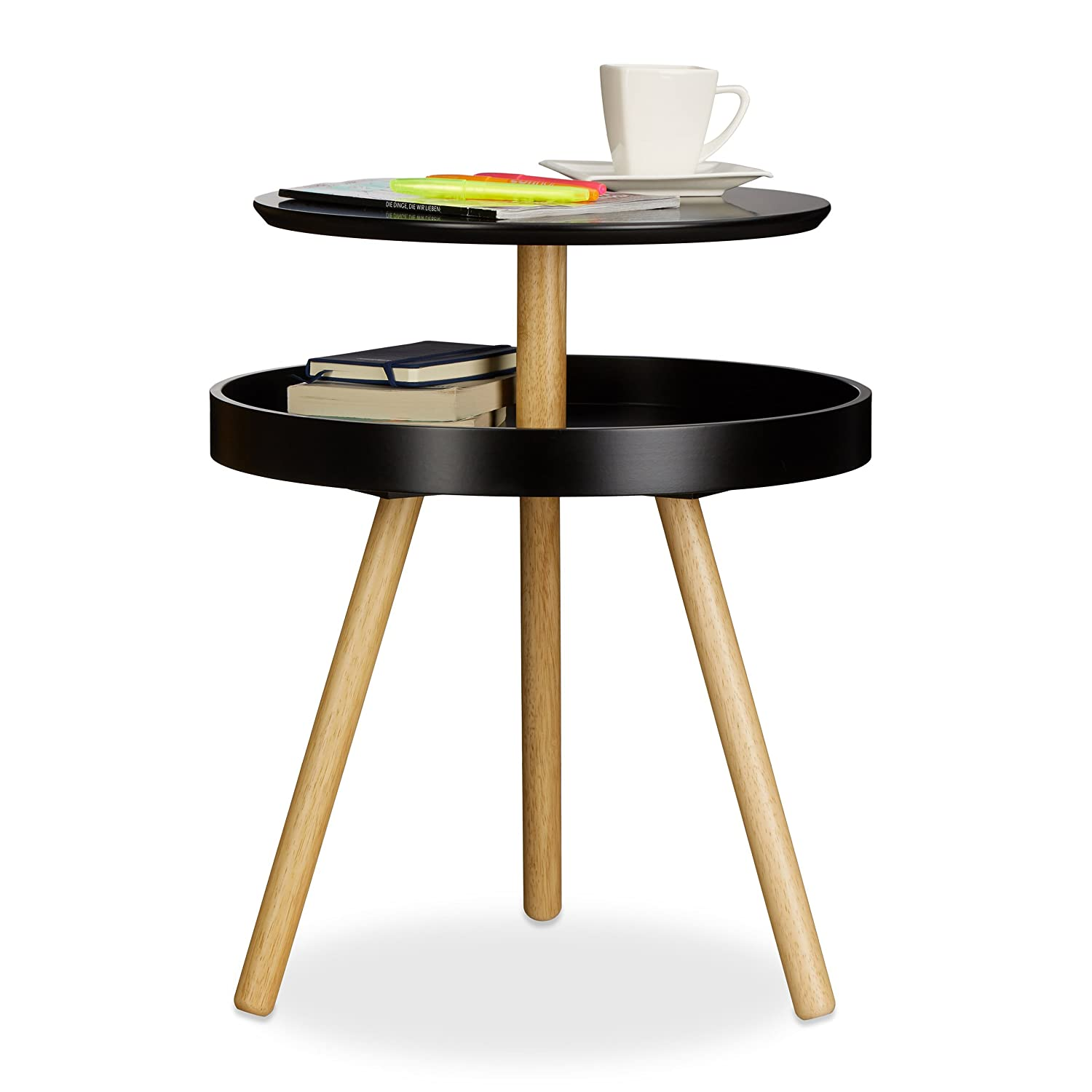 Round 3 Round Coffee Table Made Of Metal Cm ø80x23h: Practical Modern Round Coffee Side Table, Wooden, Birch