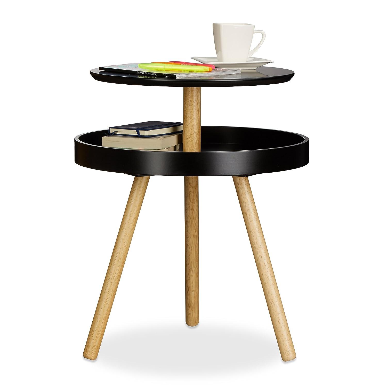 Practical Modern Round Coffee Side Table Wooden Birch Shelf 3 Legs Ebay