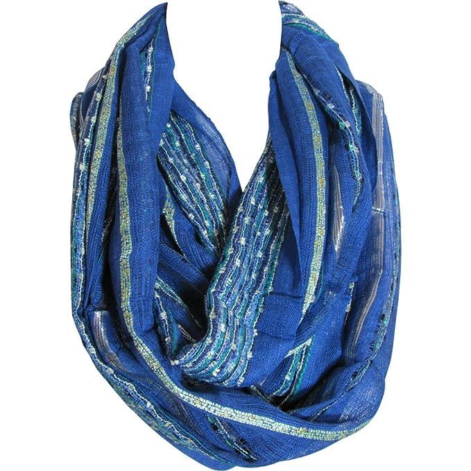 a32389b83 Unisex Royal Blue Lurex Silver Shimmering Loop Infinity Scarf ...