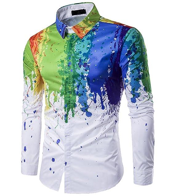 Fuxiang Hombre Camisas Estampadas Slim Fit Shirt Manga Larga Moda Camisa Casual Cuello Vestir Shirts Blusa Tops Formales Camiseta 5nWrVFi
