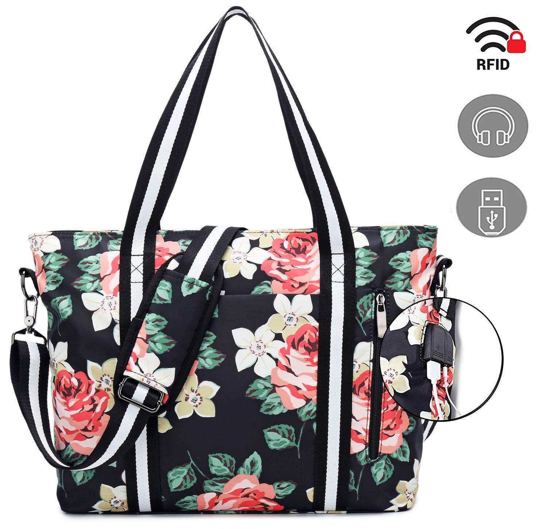 Travel Laptop Tote Bag with USB Charging Port,Womens Business Messenger Handbags Computer Shoulder Bag Laptop Case Fits 17 Inch Notebook