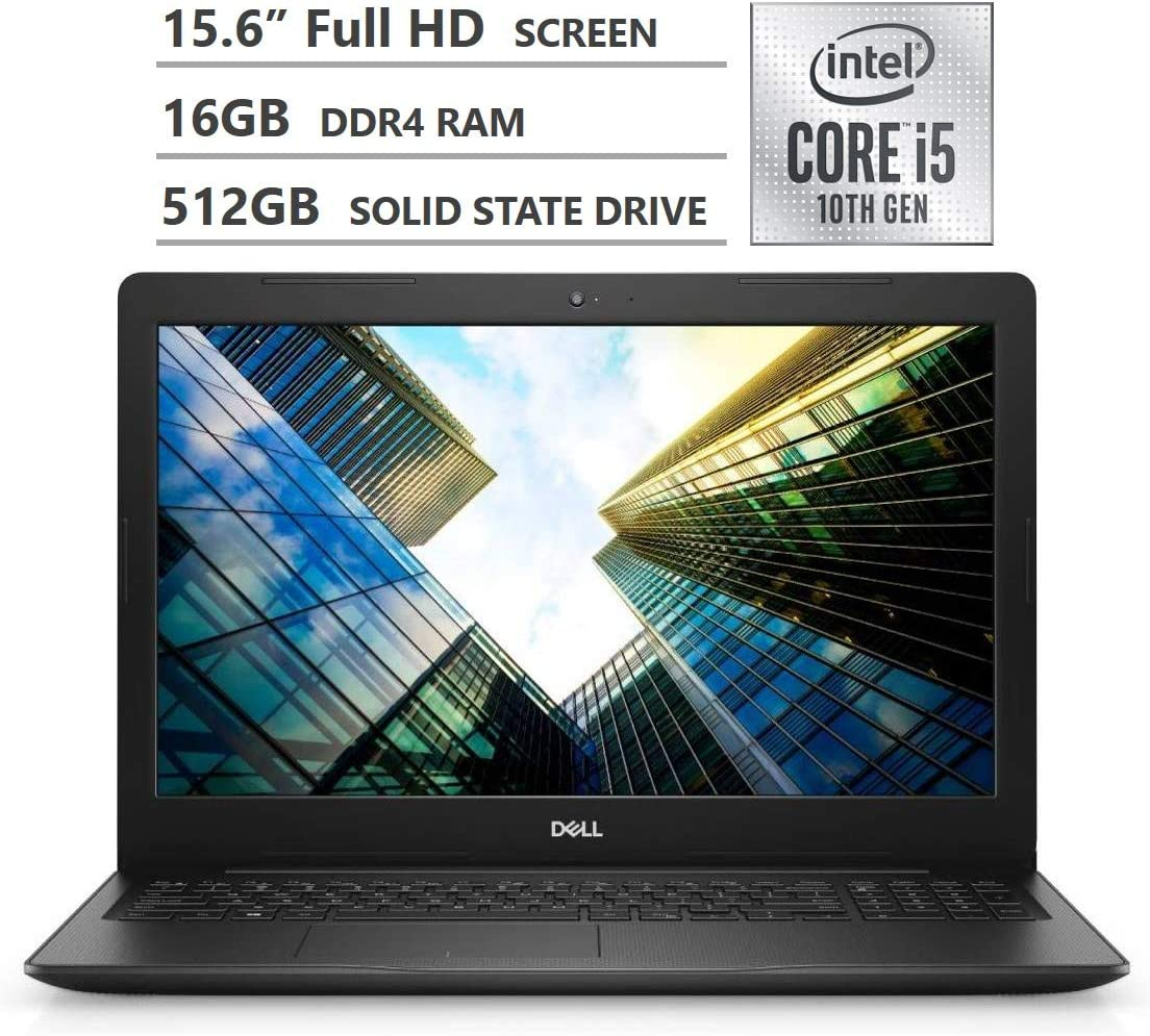 "2020 Newest Dell Inspiron 15 3000 Series Laptop, 15.6"" Full HD Non-Touchscreen, 10th Gen Intel Core i5-1035G1 Processor, 16GB RAM, 512GB SSD, Webcam, HDMI, Wi-Fi, Bluetooth, Windows 10 Home, Black"