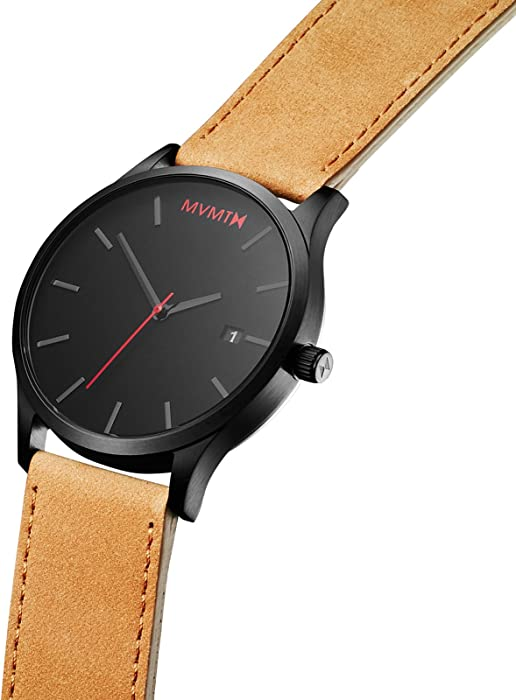 Classic Watches | 45 MM Mens Analog Minimalist Watch | Leather Wristband