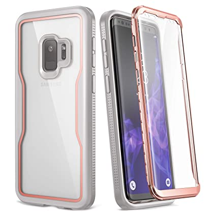 YOUMAKER Crystal Clear Case for Galaxy S9 5.8 inch, Full Body with Built-in Screen Protector Heavy Duty Protection Slim Fit Shockproof Rugged Cover ...