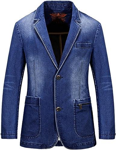 Rrive Mens Large Size Denim Casual Lapel Loose Blazer Jacket Coat