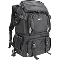 Evecase Extra Large DSLR Camera/15.6 inch Laptop Travel Daypack Backpack Accessories Lens Gadget Bag with Rain Cover - Black
