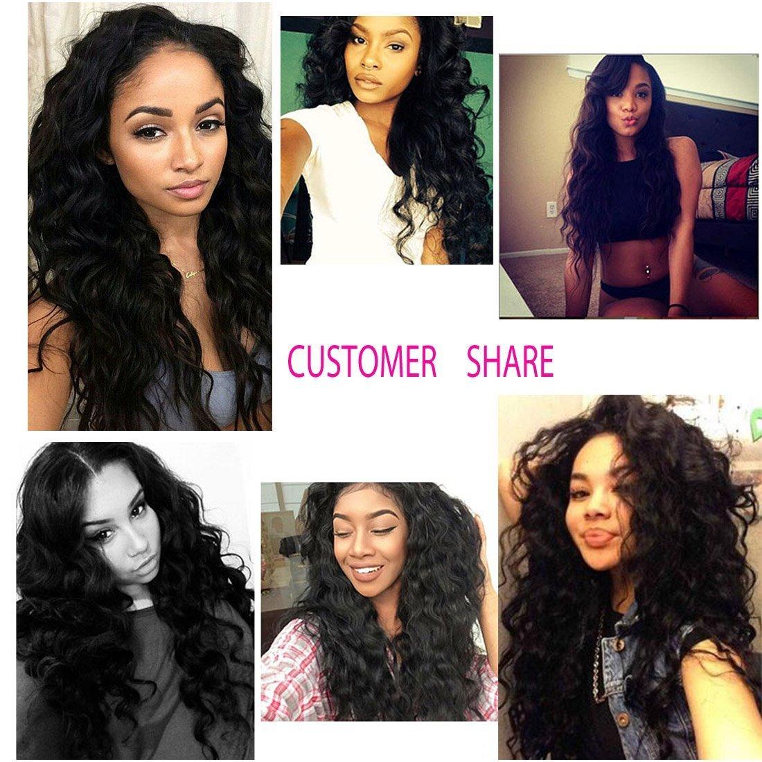 Unice 7A Grade Brazilian Natural Wave Hair 100% Virgin Human Hair 3 Bundles with Closure Natural Color (20 22 24+18Free Closure) by UNICE (Image #7)