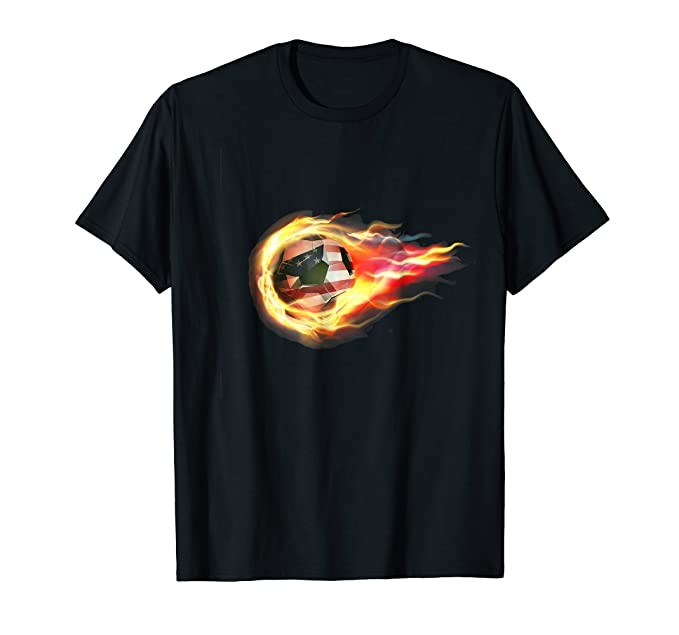 Amazon.com: Soccer T-Shirt Fire Cool Graphic Design USA Flag Flame ...
