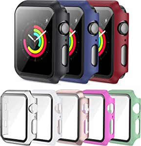 PLWENST 8 Pack Screen Protector Case Compatible with Apple Watch 38mm Series 3/2/1, Full Hard PC Ultra-Thin Scratch Resistant Bumper HD Protective Watch Cover for Women Men iWatch Accessories