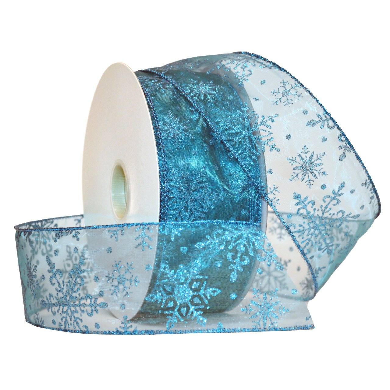 Amazon.com: Morex Ribbon Snowflake Wired Sheer Glitter Ribbon, 2-1/2 ...