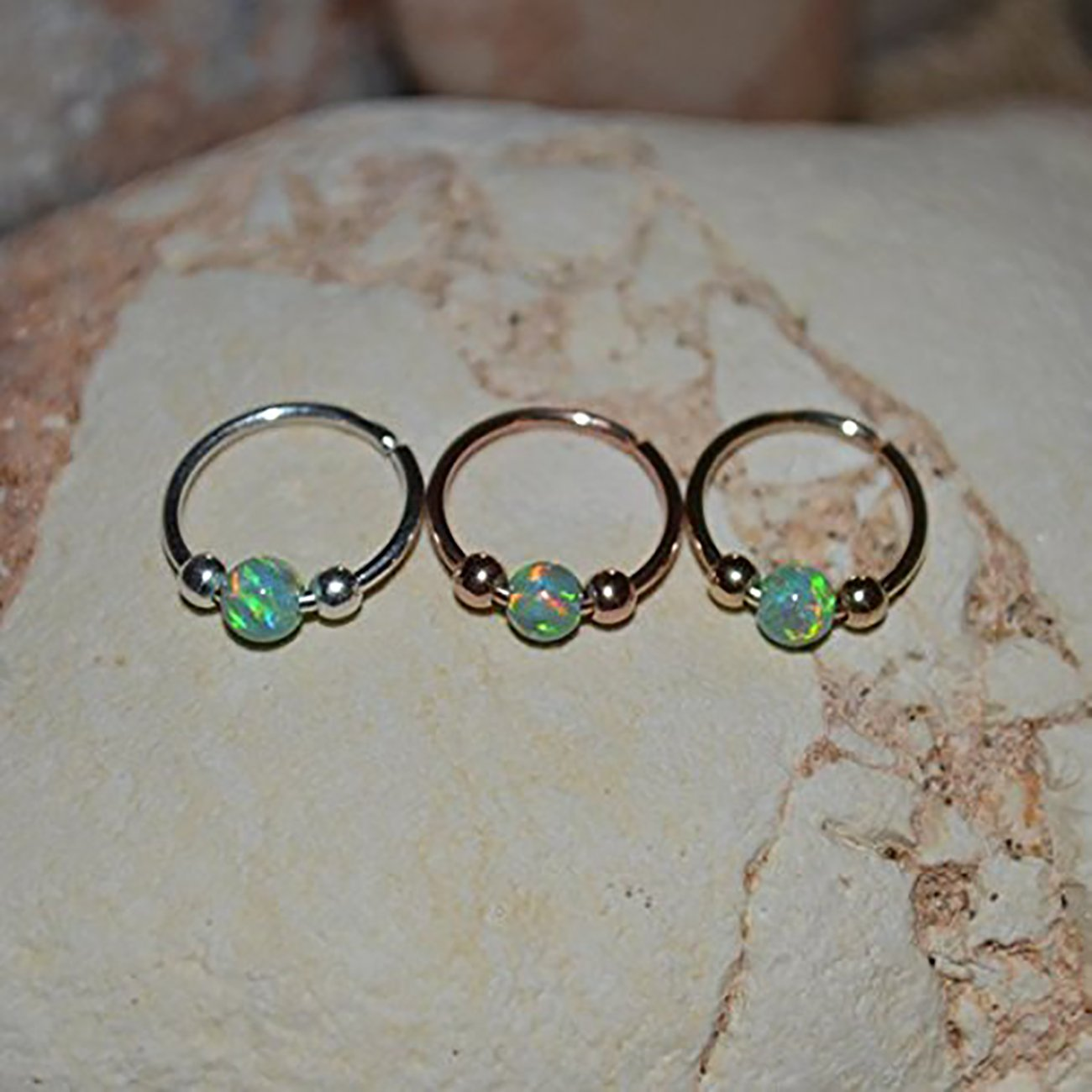 Green Opal TRAGUS EARRING Gold // Nose Ring Stud - Forward Helix Earring - Rook Hoop - Septum Ring - Tragus Stud - Cartilage Ring 20 gauge