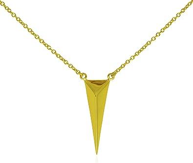Amazon long pyramid gold pendant necklace 925 sterling long pyramid gold pendant necklace 925 sterling silver gold tone adjustable 16quot mozeypictures Choice Image