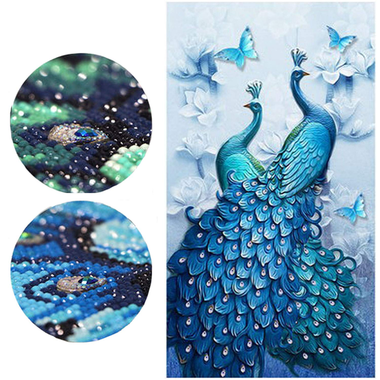 5D Diamond Painting Kits Full Drill Paint by Number Kits for Adults with Diamonds for Home Wall Decor - Couple Peacocks 18x31'' (45x80cm)