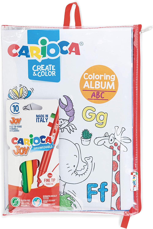 Carioca Album Jungle Sea - 42984 - Set Álbum para Colorear con Estuche y 10 Rotuladores Joy Punta Fina, Fantasía Jungla y Mar: Amazon.es: Juguetes y juegos