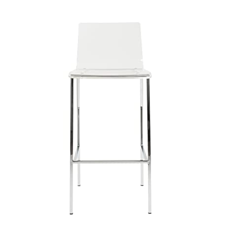 Amazon.com: Euro Style Chloe Clear Acrylic Bar Height Stool With Chromed  Base, Set Of 2: Kitchen U0026 Dining