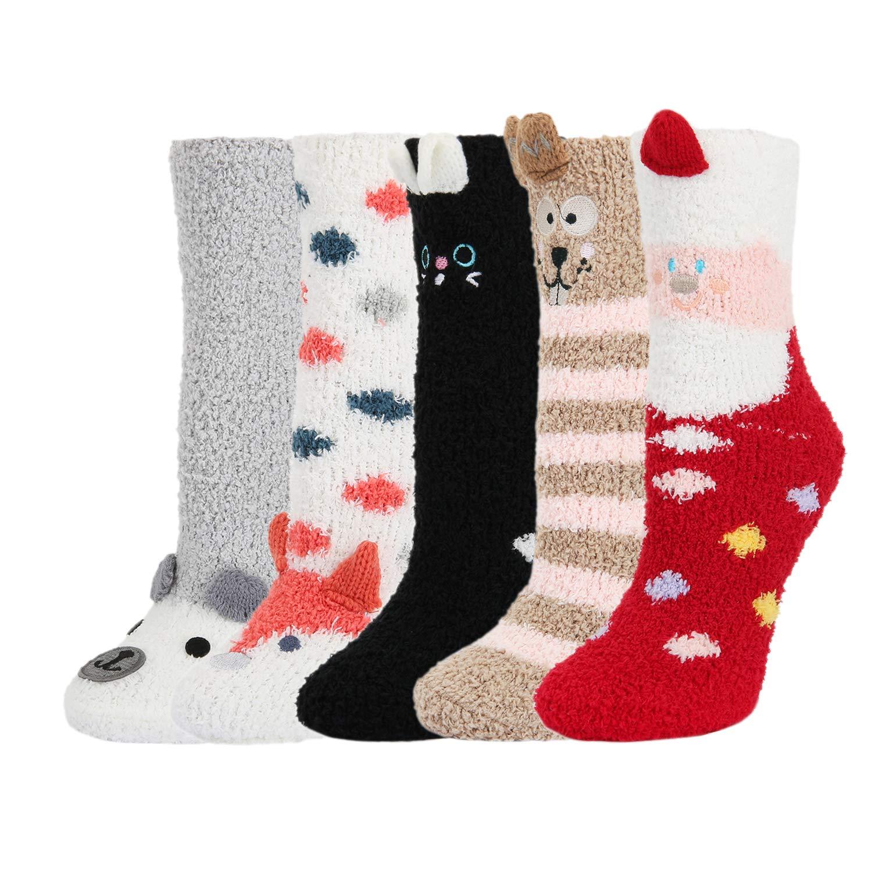 5 Pack Women Girls 3D Cute Animals Slipper Slipping Winter Crew Fuzzy Socks,Christmas Gift Value Pack