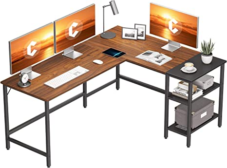 L Shaped Corner Home Office Computer Desk Work Workstation With Storage Shelf