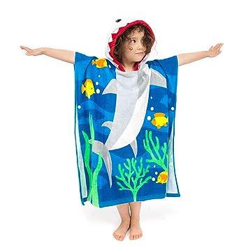 Florica Algodón Niños Niñas Encantador Ponchos Encapuchados baño Toalla de baño (Talla Grande Tiburón): Amazon.es: Hogar