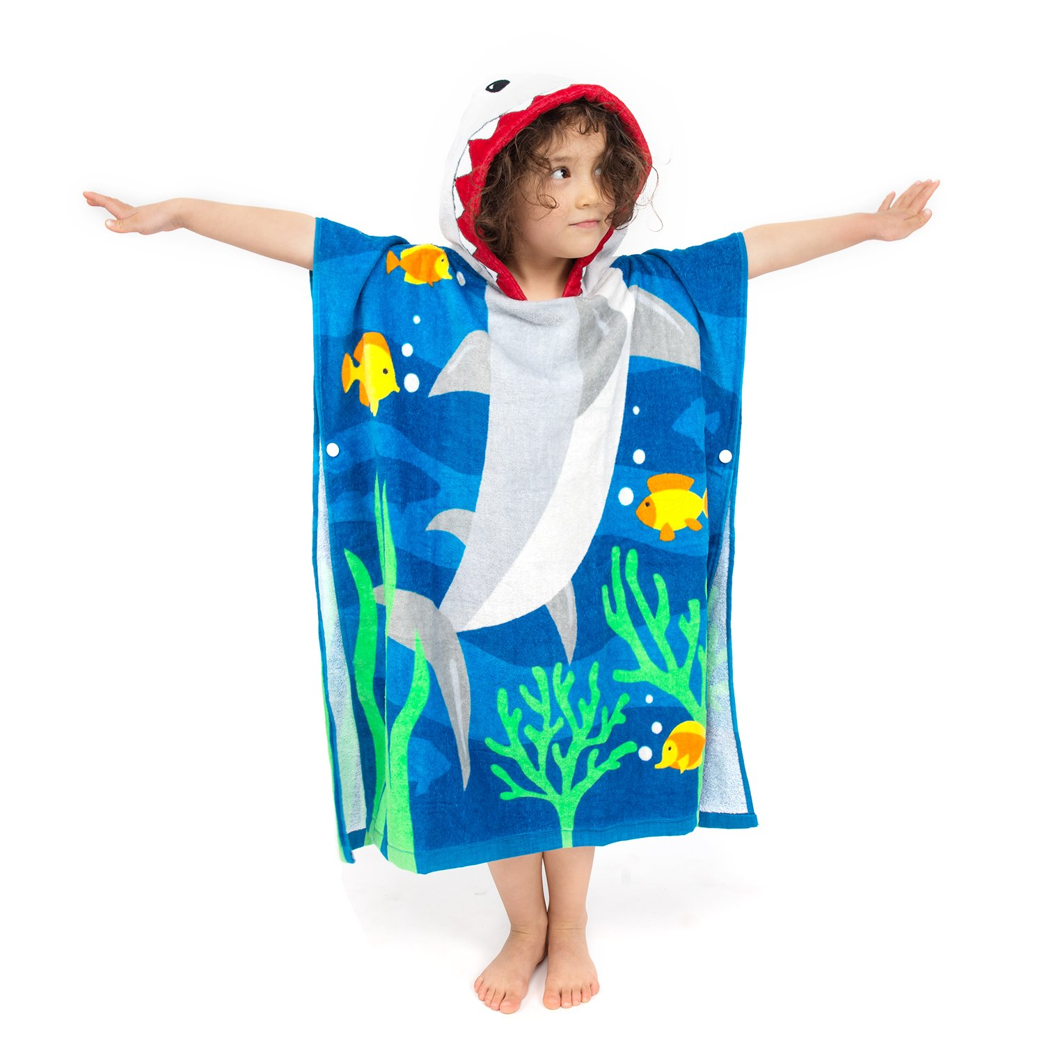 ZINGLIFE Hooded Towels for Kids Baby Boys Girls Toddlers Child Poncho Bath Towel for Beach Pool 100% Cotton Ultra Breathable Soft Enough Thick for Winter Size 24'' x 47''(Brave Shark) by ZINGLIFE (Image #4)