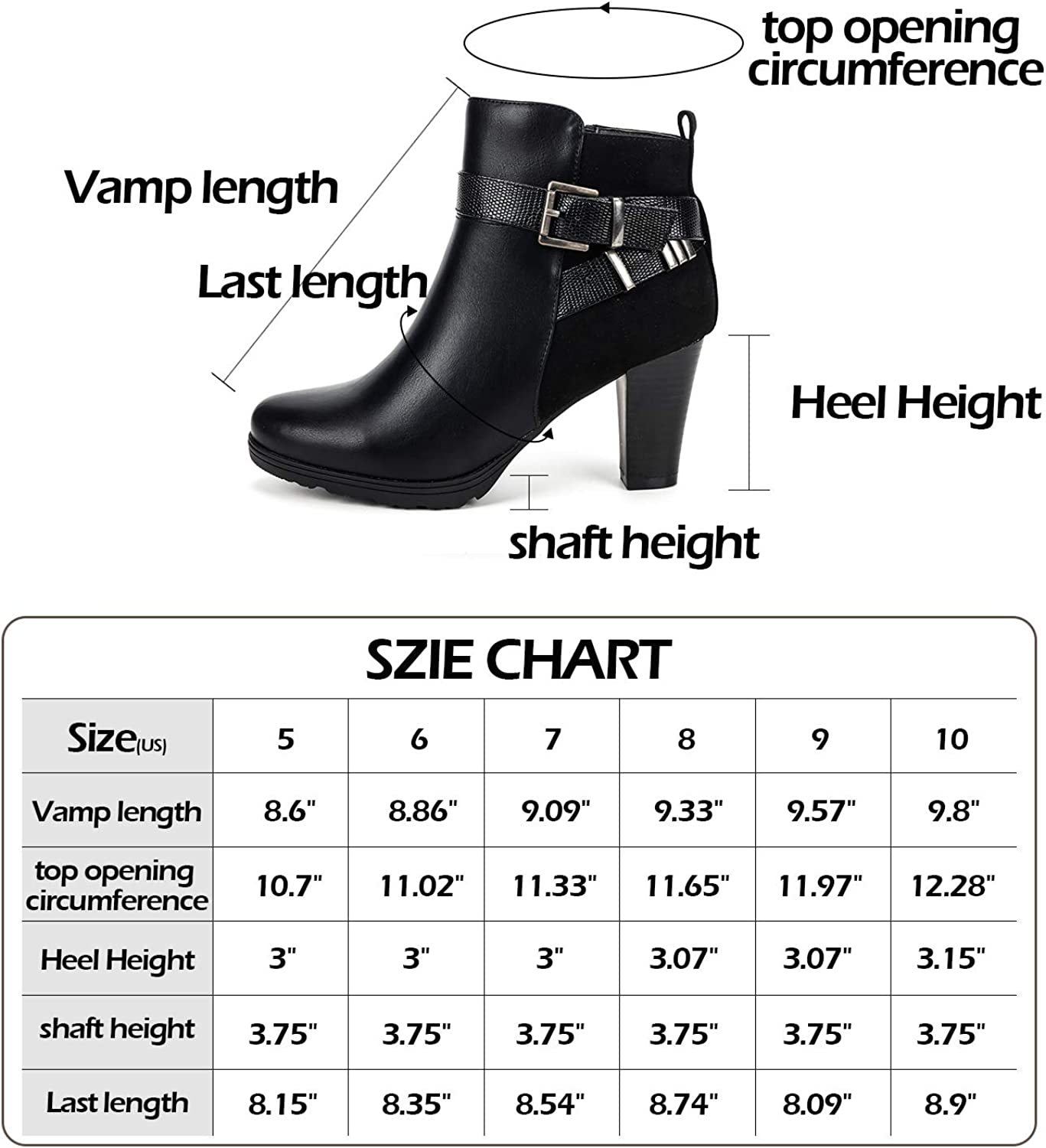 mysoft Womens Zipper Bootie Chunky Stacked Heel Ankle Boots Buckle Strap Ankle