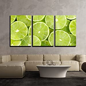 "wall26 - 3 Piece Canvas Wall Art - Lemon. - Modern Home Art Stretched and Framed Ready to Hang - 16""x24""x3 Panels"