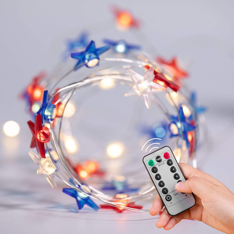 Star String Lights, 16FT 50LEDs USA American LED String Lights, USB and Battery Operated String Lights with Remote & Timer, for Bedroom Patriotic Christmas Decoration