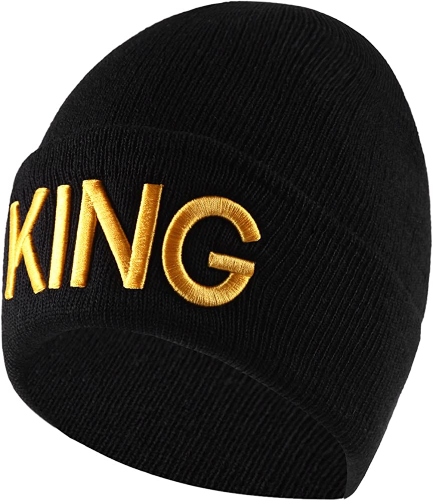 5844fcda7 King & Queen Beanie Hats His & Hers Couple Matching Warm Stylish Hat
