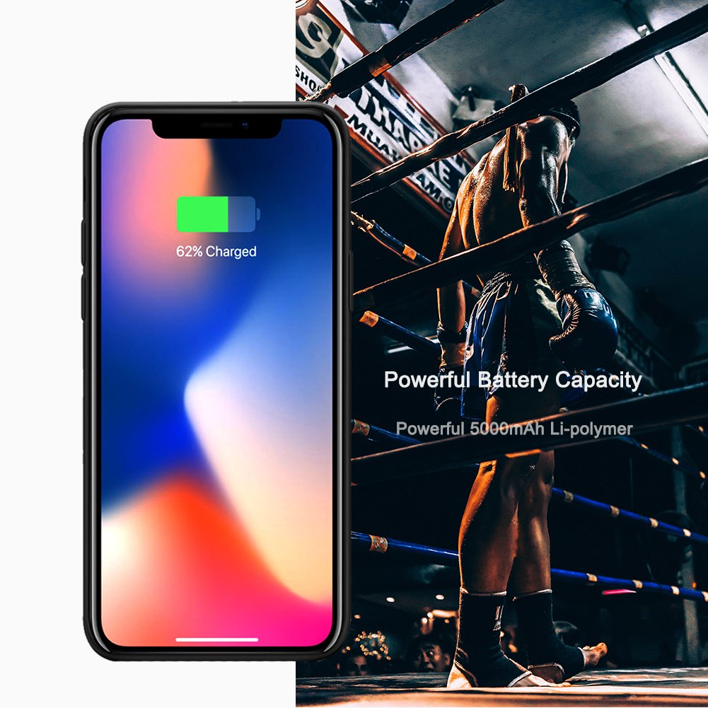iPhone X Battery Case, ZTESY iPhone X 5000mAh Capacity Extended Charger Case Rechargeable Charging Case with Kickstand for iPhone X -Black by ZTESY (Image #7)