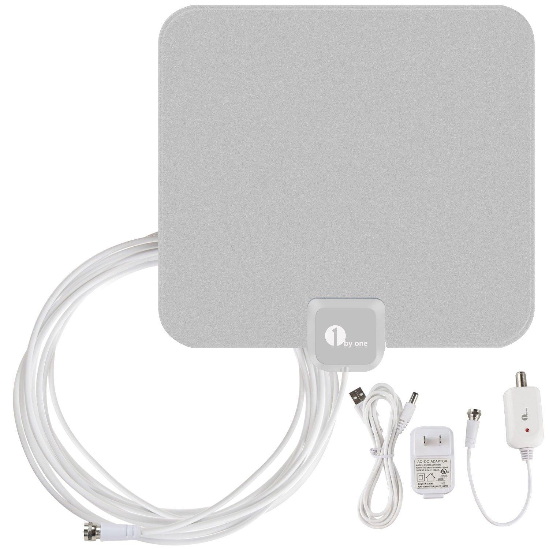 1byone ous00 - 0562 amplificada HDTV Antena 50 Millas Gama con Fuente de Alimentación USB y Cable DE 20 pies Coaxial - Blanco/Negro: Amazon.es: Electrónica