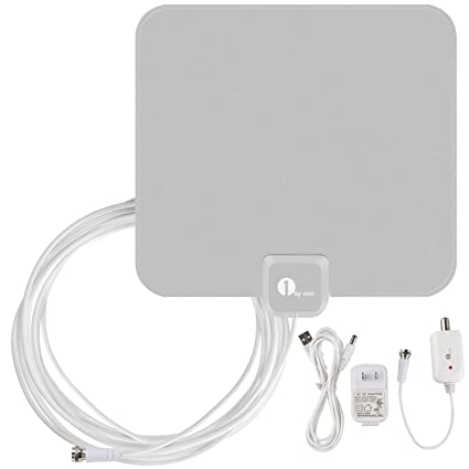1byone 40 Miles Amplified HDTV Antenna with USB Power Supply 16.5 Feet Coaxial Cable - Silver
