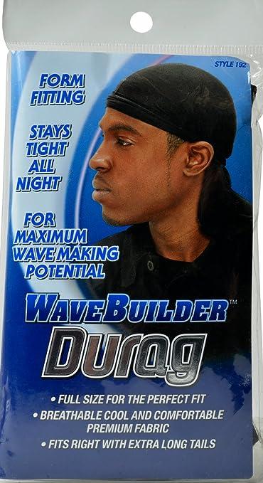 Wave Builder Du Rag With Extra Long Tails Black (Model: 192) by Wavebuilder