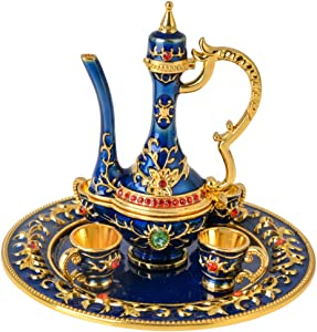 "FZJ Persian Teapot Small Collectible Figurine Gold Plated Room Decoration Unique Gift for Women & Men (Blue, 3"")"
