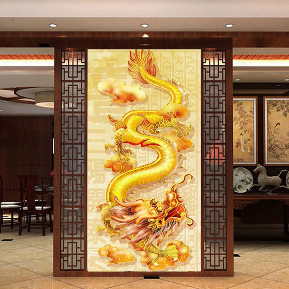 DIY 5D Diamond Painting Kit,Full Diamond Chinese Dragon Loong Embroidery Rhinestone Cross Stitch Arts Craft Supply for Home Wall Decor by Acchen