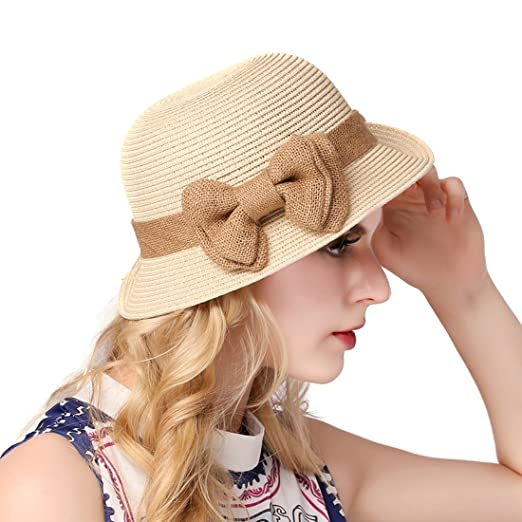 0bd8ad26 Image Unavailable. Image not available for. Color: O&N Women Girls Holiday Wide  Brim Bow Caps Foldable Summer Beach Sun Hat Straw Hats
