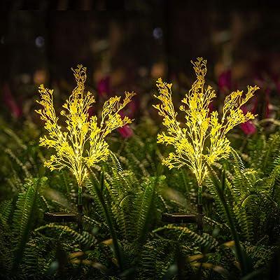 Neporal Solar Lights Outdoor Decorative 2 Pack Garden Lights Solar Powered IP65 Waterproof Fiber Optic Solar Garden Lights Solar Garden Stake Lights for Yard Patio Garden Pathway