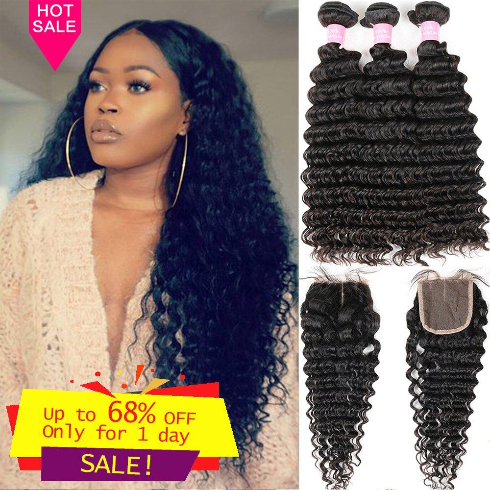 Brazilian Deep Wave 8A Unprocessed Virgin Hair 3 Bundles with Middle Part Lace Closure 4×4 Lace Mixed Length Hair Bundles Natural Color or Black Women Miss GAGA (24 26 28+20)