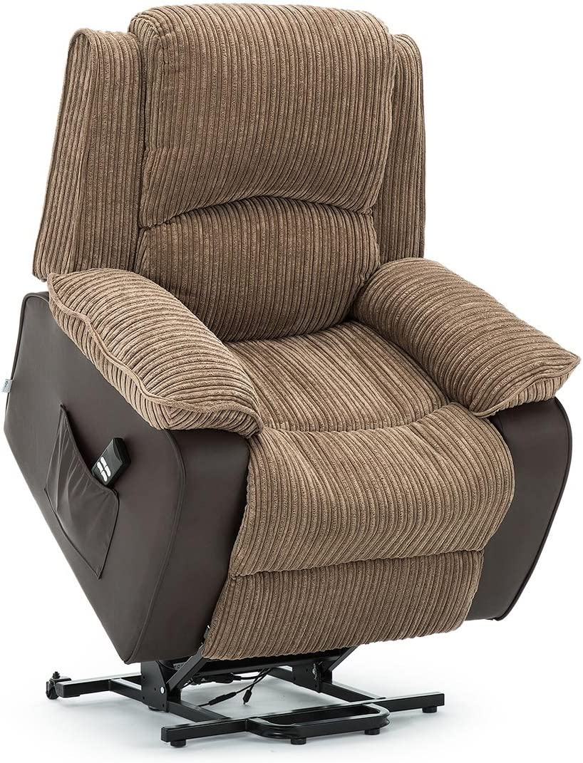 More4Homes POSTANA DUAL MOTOR ELECTRIC RISE RECLINER JUMBO CORD FABRIC ARMCHAIR ELECTRIC LIFT RISER CHAIR (Brown)
