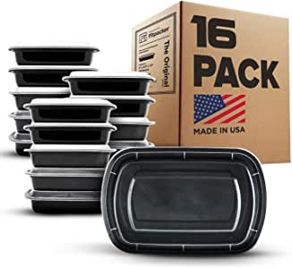Fitpacker Meal Prep Containers - 28oz Portion Control Lunch Bento Box - Reusable Microwaveable (16 Pack - Version 2)