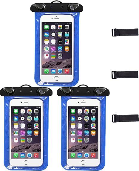 3 Pack funda resistente al agua, mulkiiy a prueba de agua teléfono con brazalete y cordón, resistente golpes playa teléfono celular bolsa seca trabajo con iphone 6/6S, Samsung Galaxy S6/S6 Edge: Amazon.es:
